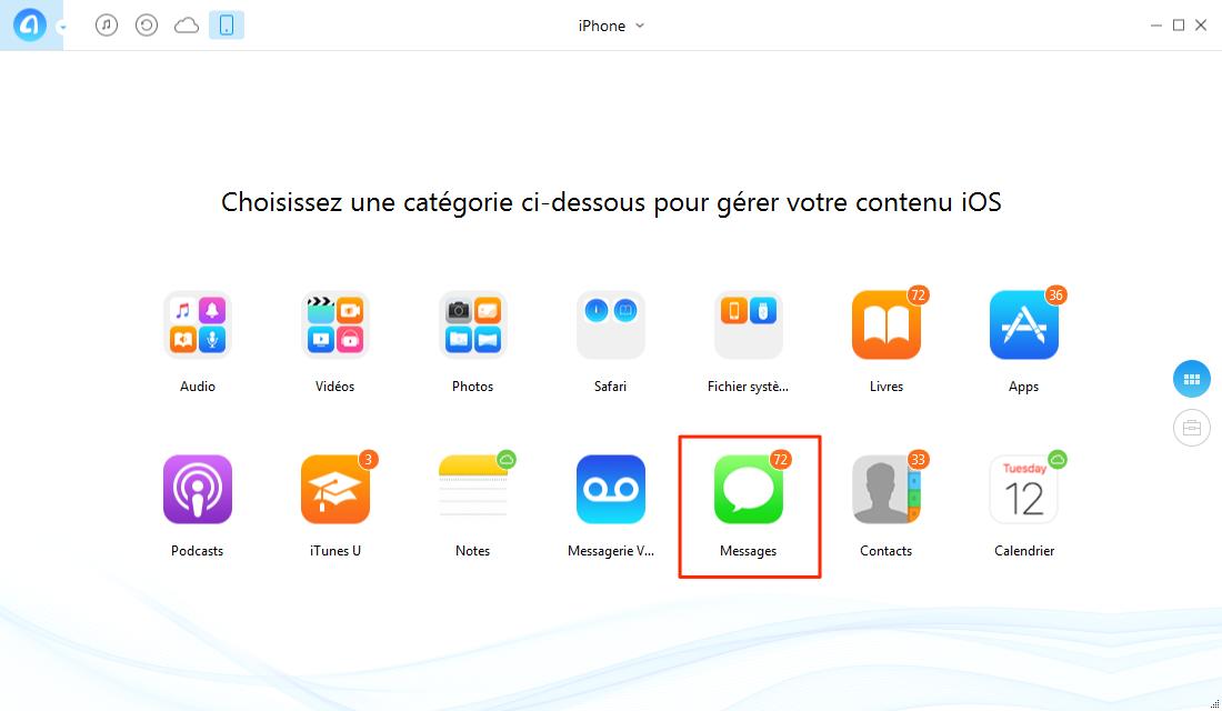 Comment transférer les messages d'iPhone 7 vers PC – étape 1