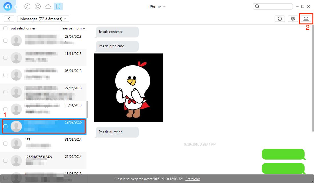 Transférer les messages iPhone 7 vers PC – étape 2