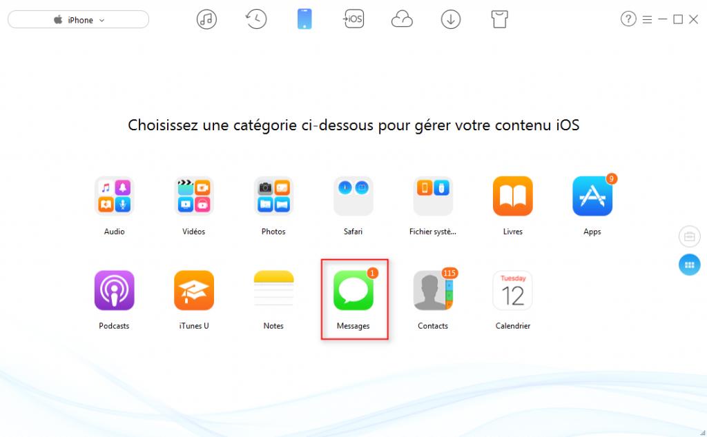 Transférer les messages iPhone sur clé USB - étape 2