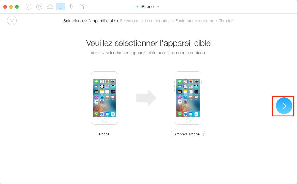 Moyen facile de transférer les messages iPhone vers iPhone 8 - étape 2