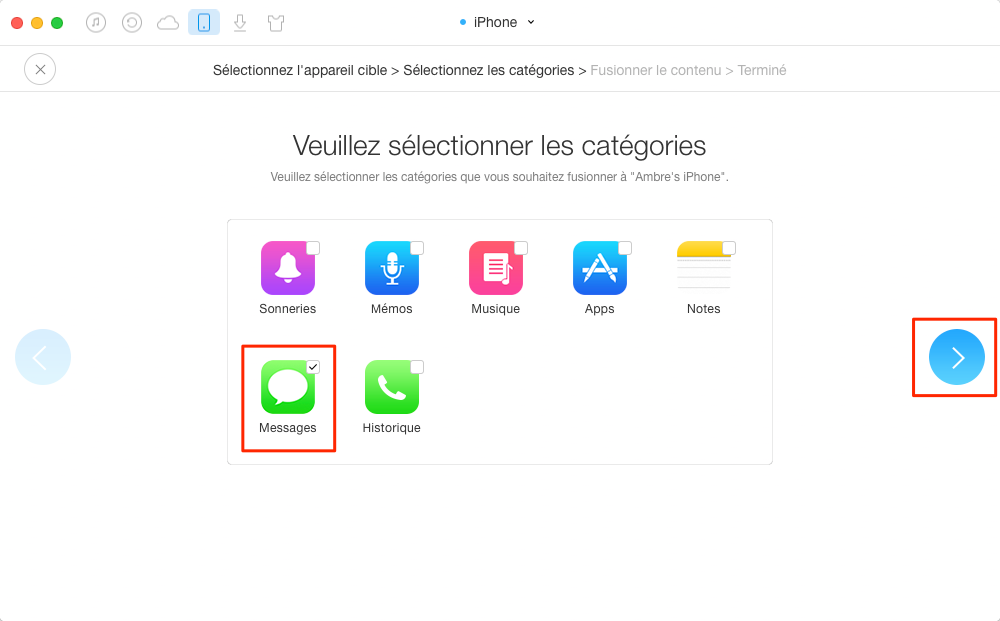 Méthode efficace à envoyer les messages iPhone vers iPhone 8 - étape 3