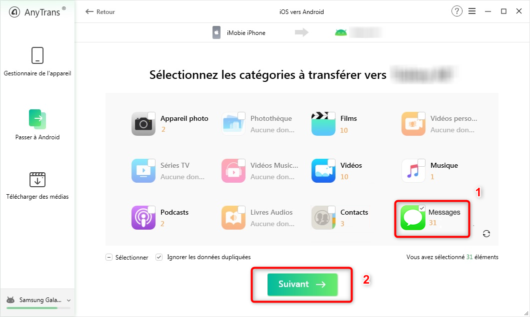 Récupérer les messages SMS iPhone vers Samsung - étape 2