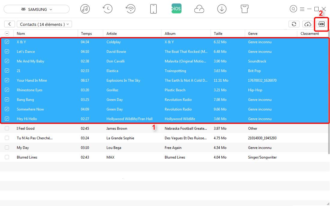 Moyen simple d'exporter la musique Android vers iPhone X/8 - étape 3