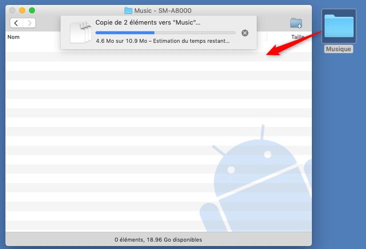 Transferer de la musique vers Mac via Android File Transfer