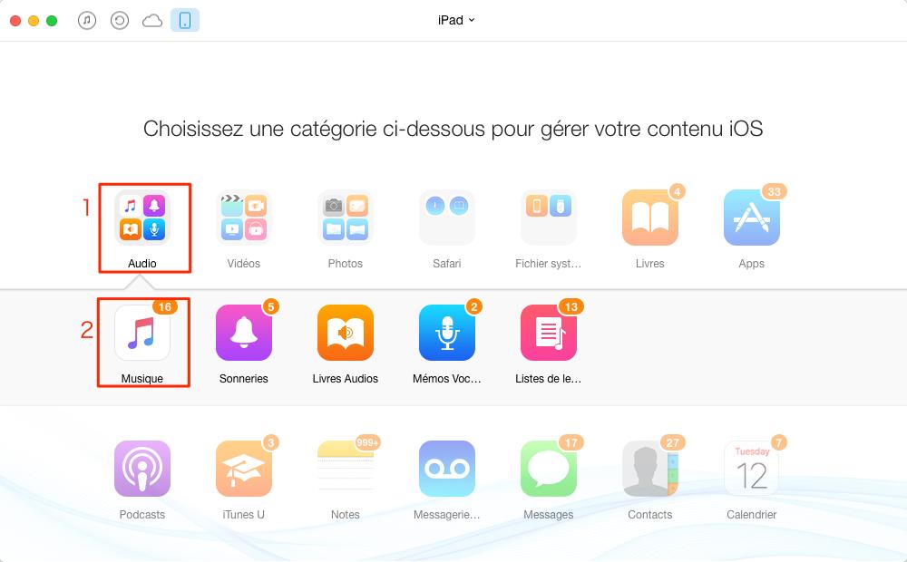 Méthode pratique de transférer les musiques iPad – étape 2