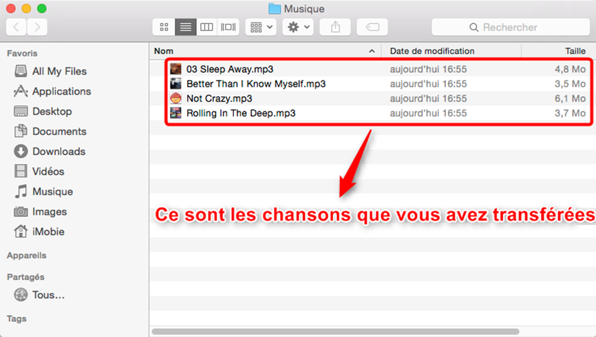 Transfert de la musique iPad vers Mac achevé