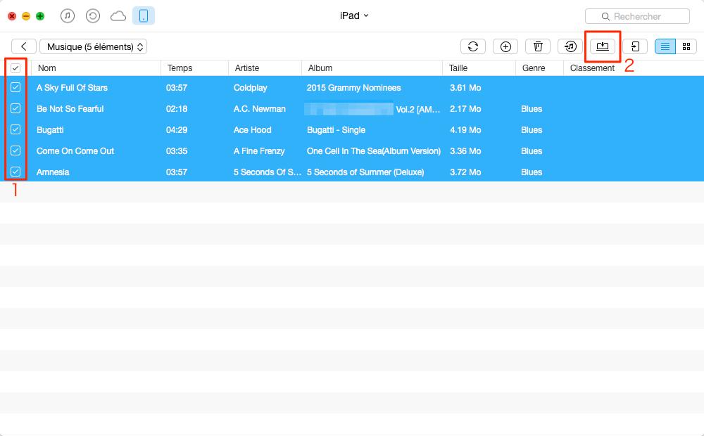 Le transfert de la musique iPad vers Mac – étape 4