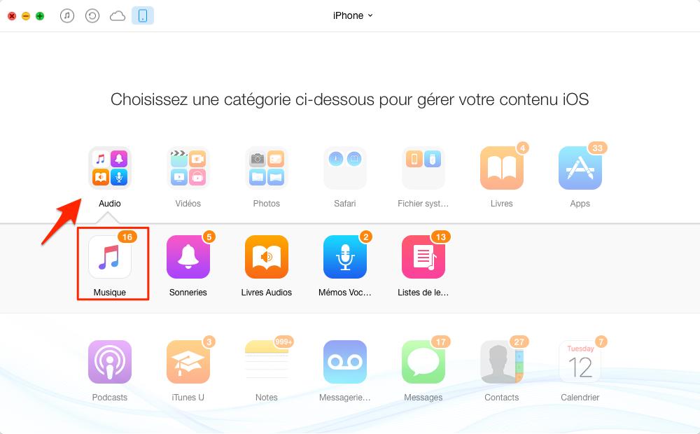 Transférer facilement musique iPhone vers iTunes – étape 3