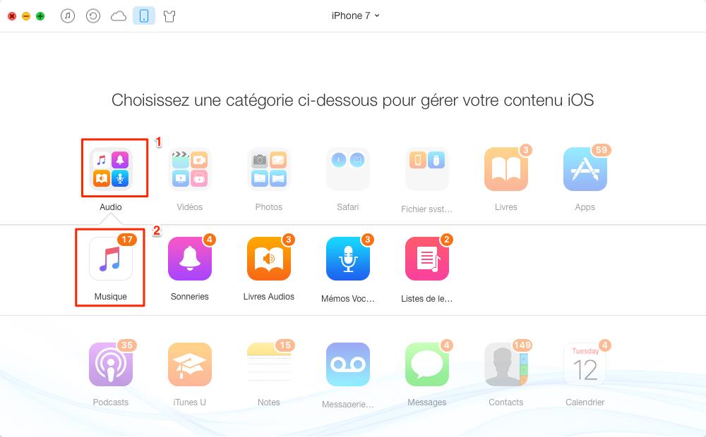 Transférer musique iPhone 7 vers Mac – étape 2