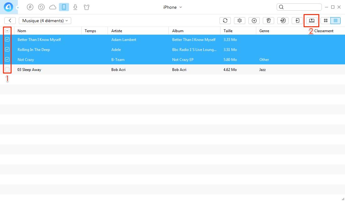 Moyen facile d'envoyer les musiques iPhone 8 vers PC – étape 2