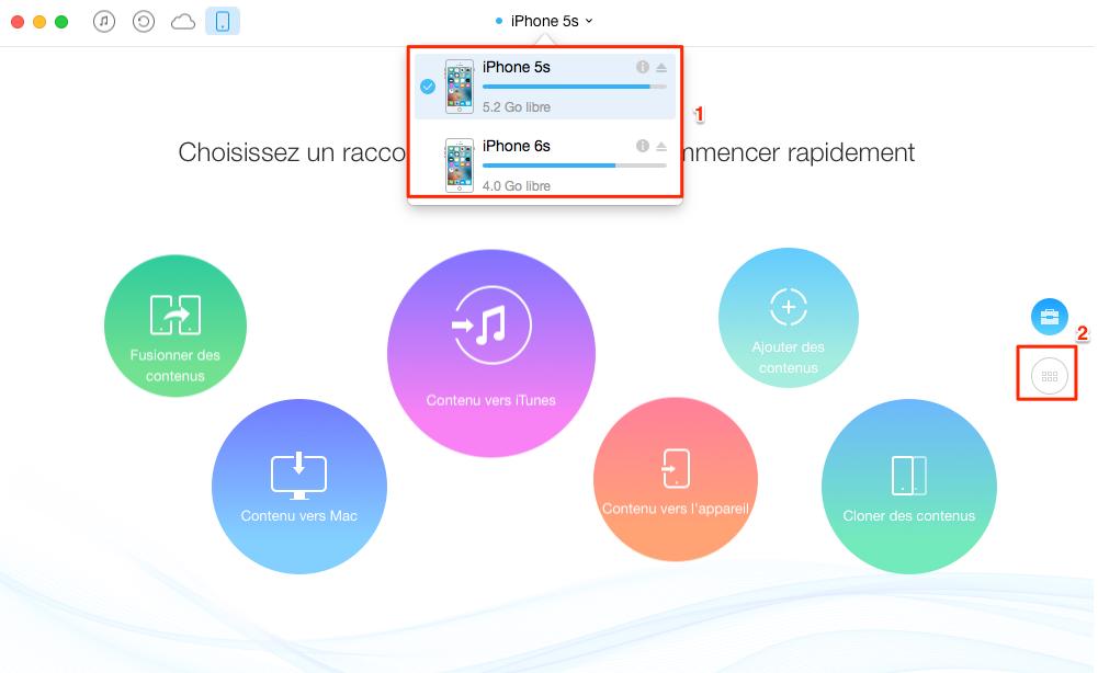 Copier musique de l'iPhone 4/4s/5/5c/5s à l'iPhone 6 - étape 1