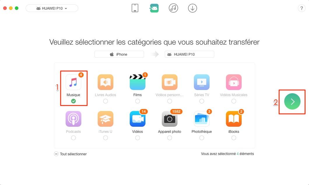 Importer les chansons iPhone vers Android d'un coup - étape 2