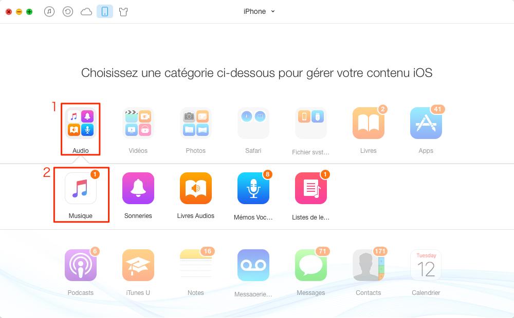 Transfert de musique de l'iPhone à l'iPhone - étape 2