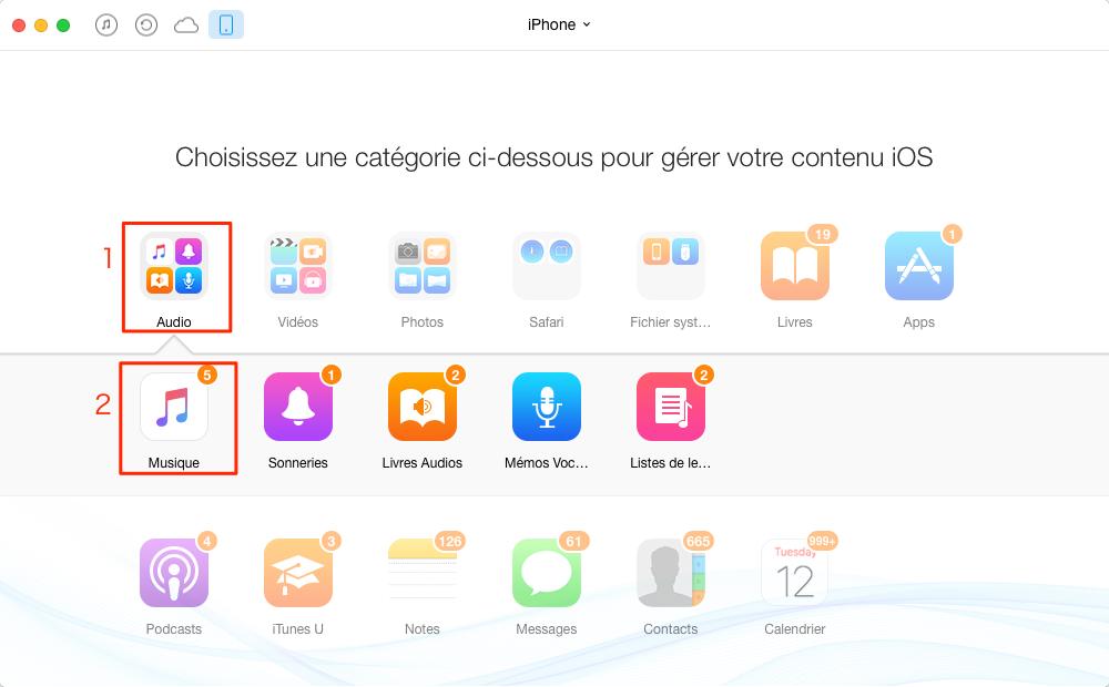 Comment transférer de la musique iPhone vers iPod – étape 2