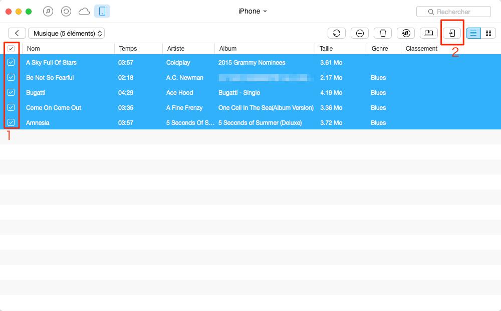 Le transfert de la musique iPhone vers iPod – étape 3