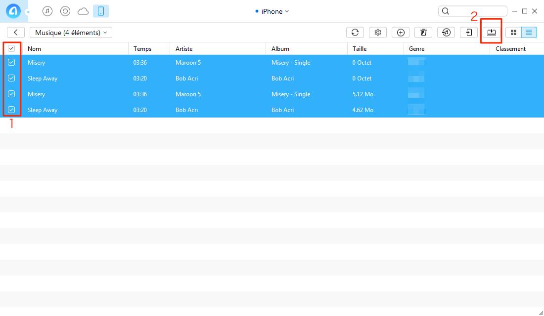 Transférer de la musique d'iPhone vers PC - étape 3