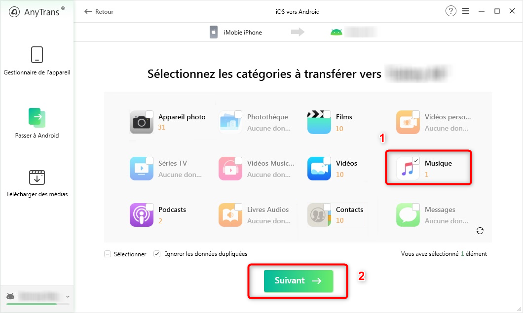 Transfert la musique iPhone vers Samsung - étape 2
