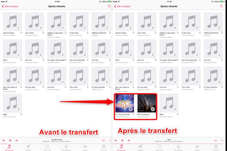 Envoyer musique depuis iPhone X/8 vers iPad