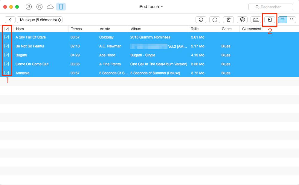 Le transfert de la musique iPod vers iPad – étape 4