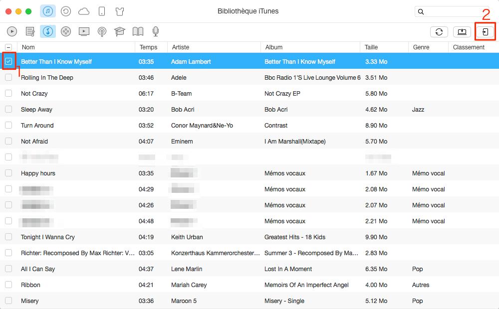 Comment importer musique iTunes vers iPhone 4/4s/5/5s/6/6s/7/7 Plus – étape 2