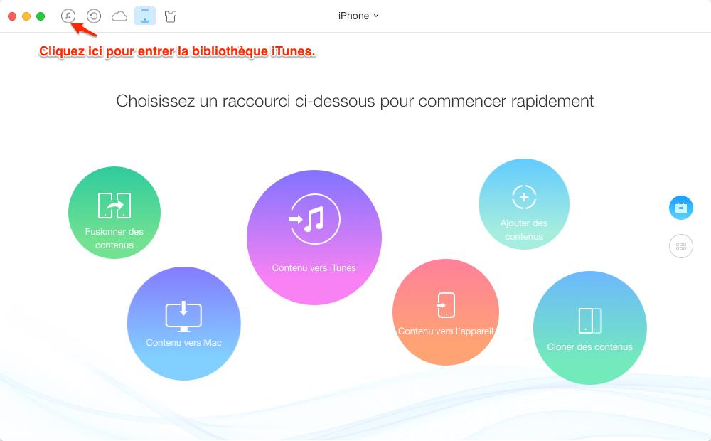 Transfert de musique iTunes vers iPhone avec AnyTrans - étape 1
