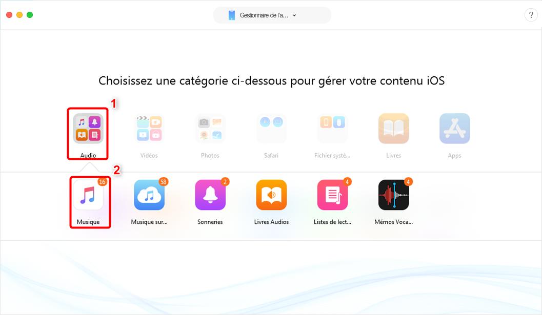 Transférer de la musique Mac vers iPhone avec Anytrans pour iOS - étape 2