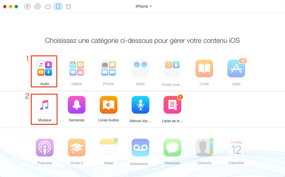 Transférer de la musique d'un Mac à l'iPhone avec AnyTrans – étape 2
