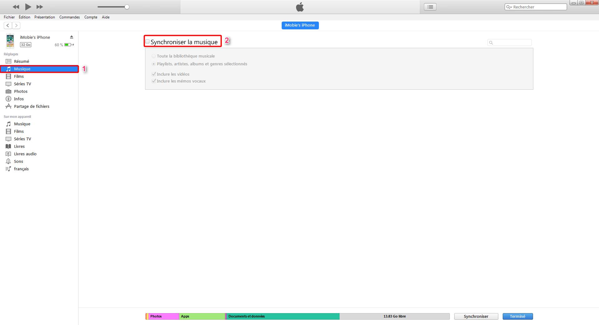 synchroniser la musique du PC portable avec iPhone par iTunes