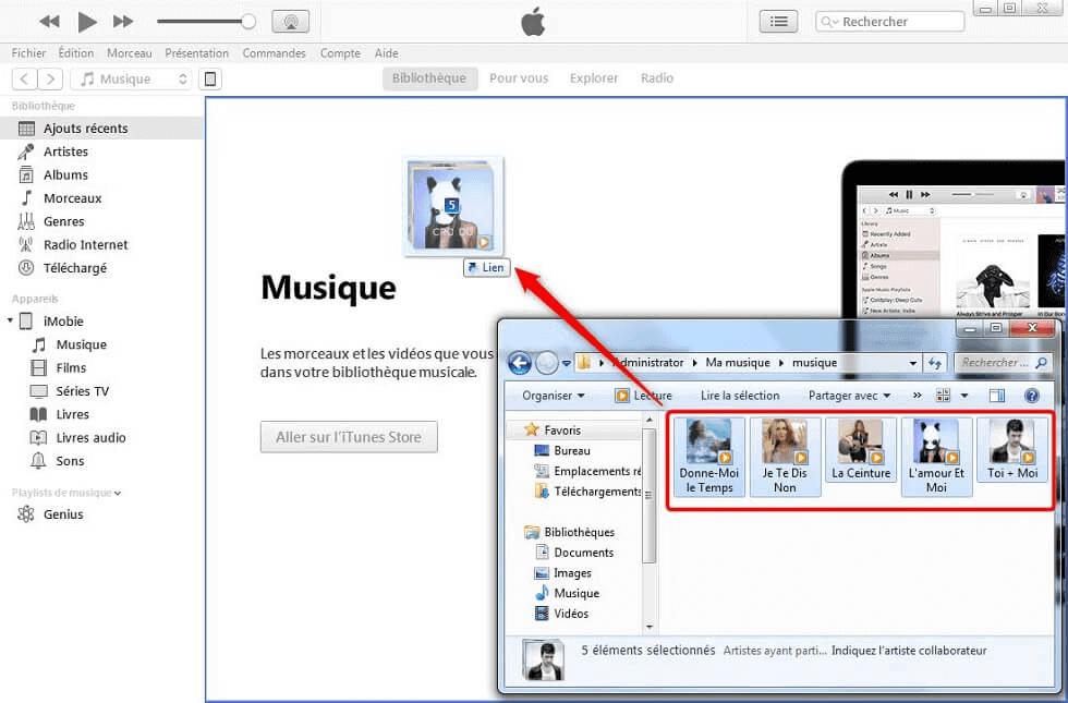 Faites glisser les morceaux directement dans iTunes