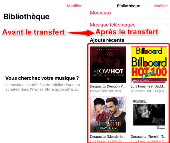 Comment transférer de la musique sur iPhone 7 depuis PC - étape 4