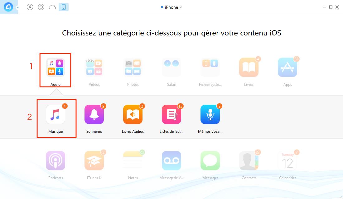 Transférer de la musique de Windows Media Player vers iPhone 6 - étape 1