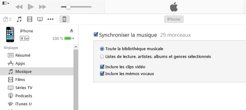 Synchroniser musique Windows Media Player avec iPhone via iTunes