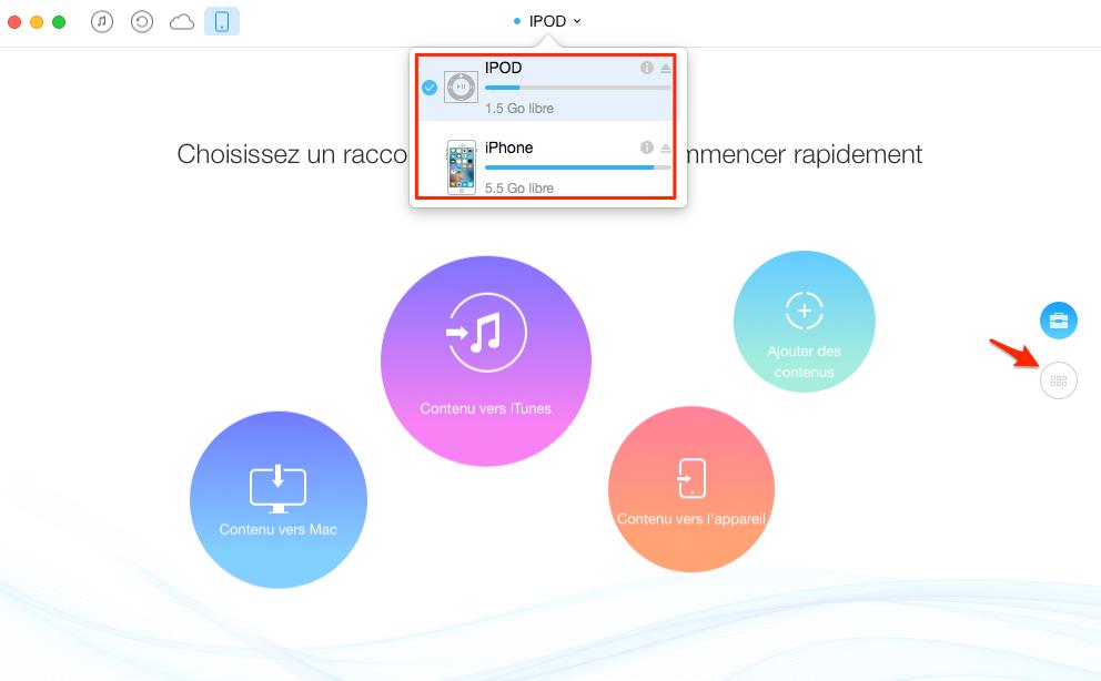 Transfert de musique de l'iPod à l'iPhone 7 avec AnyTrans – étape 1