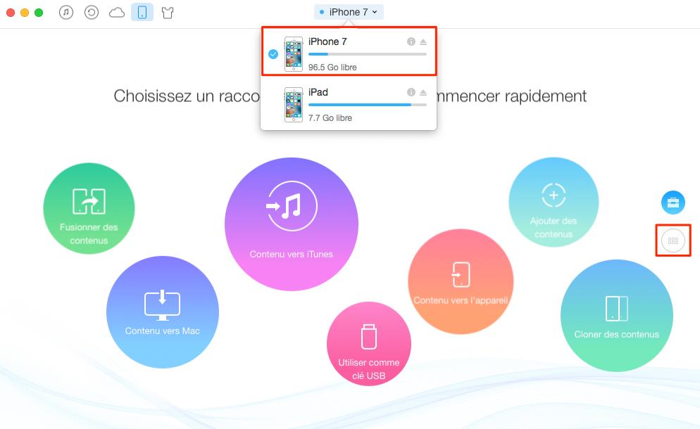 Comment transférer les notes iPhone 7 (Plus) vers iPad – étape 1