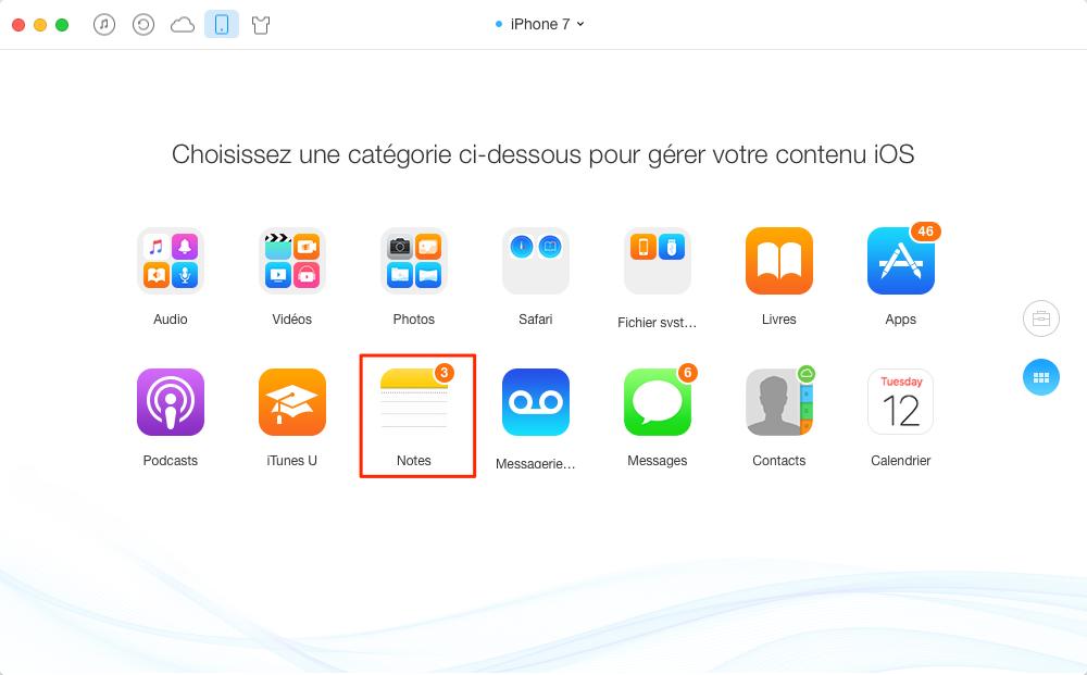 Transférer les notes iPhone 7 vers iPad – étape 2