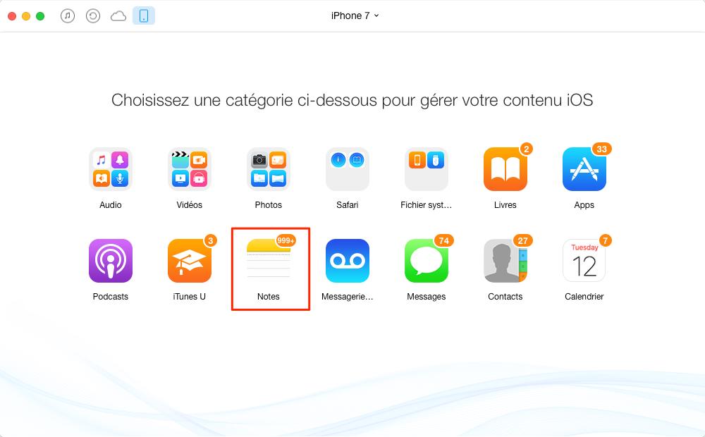 Comment transférer les notes iPhone 7 (Plus) vers Mac – étape 2