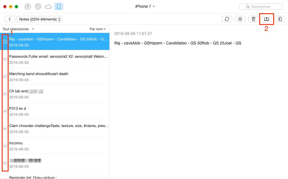 Transférer rapidement les notes iPhone 7 (Plus) vers Mac – étape 2