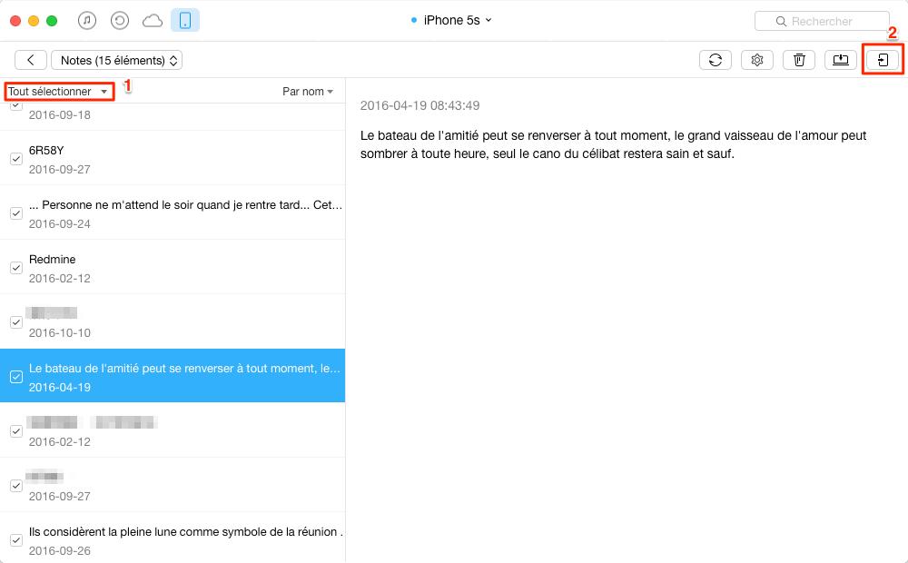Transférer des notes iPhone à nouvel iPhone 6 /6s directement – étape 3