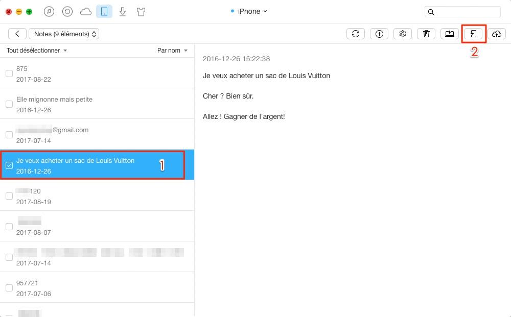 Moyen de transférer les notes entre iPhone - étape 3