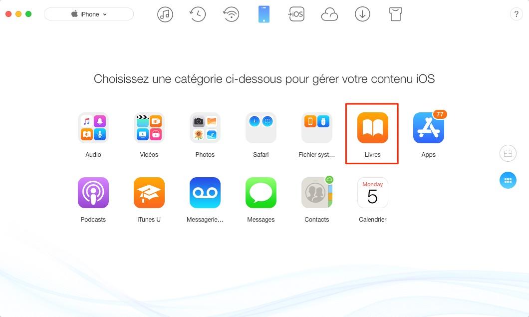 Mettre fichiers PDF sur iPhone - étape 2