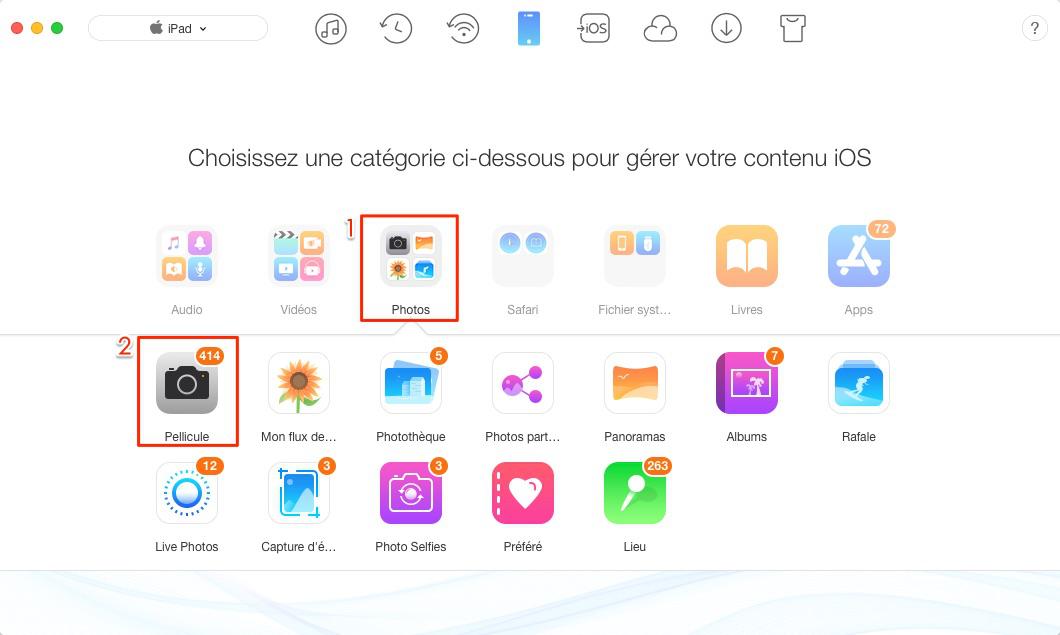 Comment transférer les photos d'iPad vers Mac – étape 2