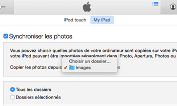 Synchroniser les photos par iTunes