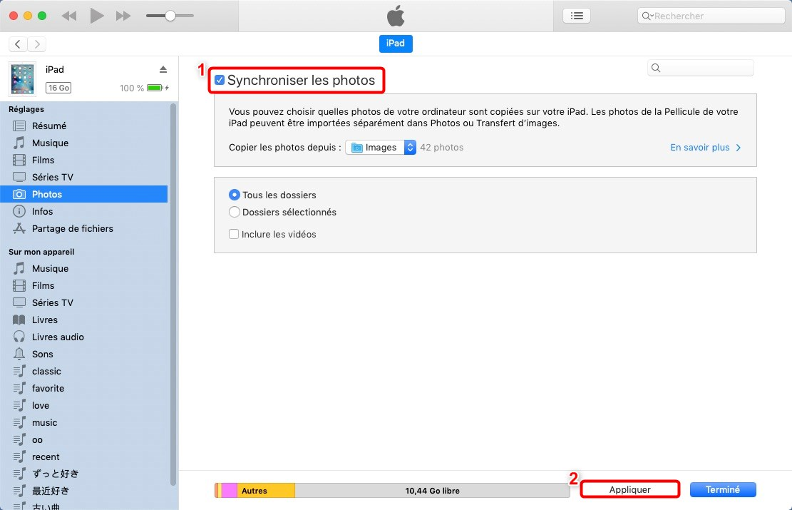 Transférer les photos Mac vers iPad avec iTunes