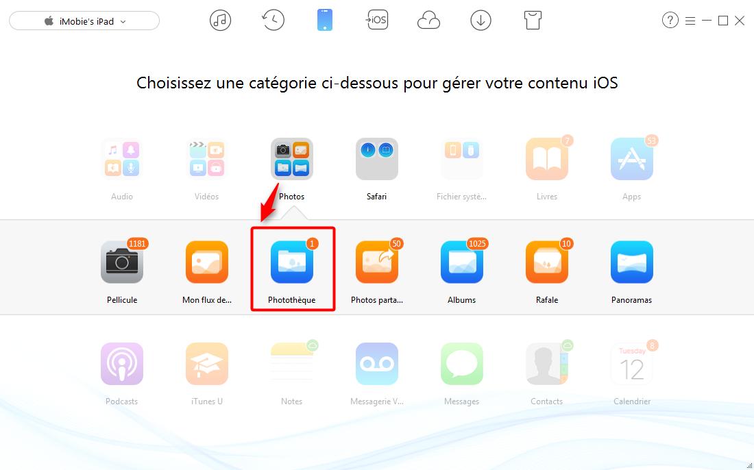 Transférer facilement les photos PC vers iPad – étape 2