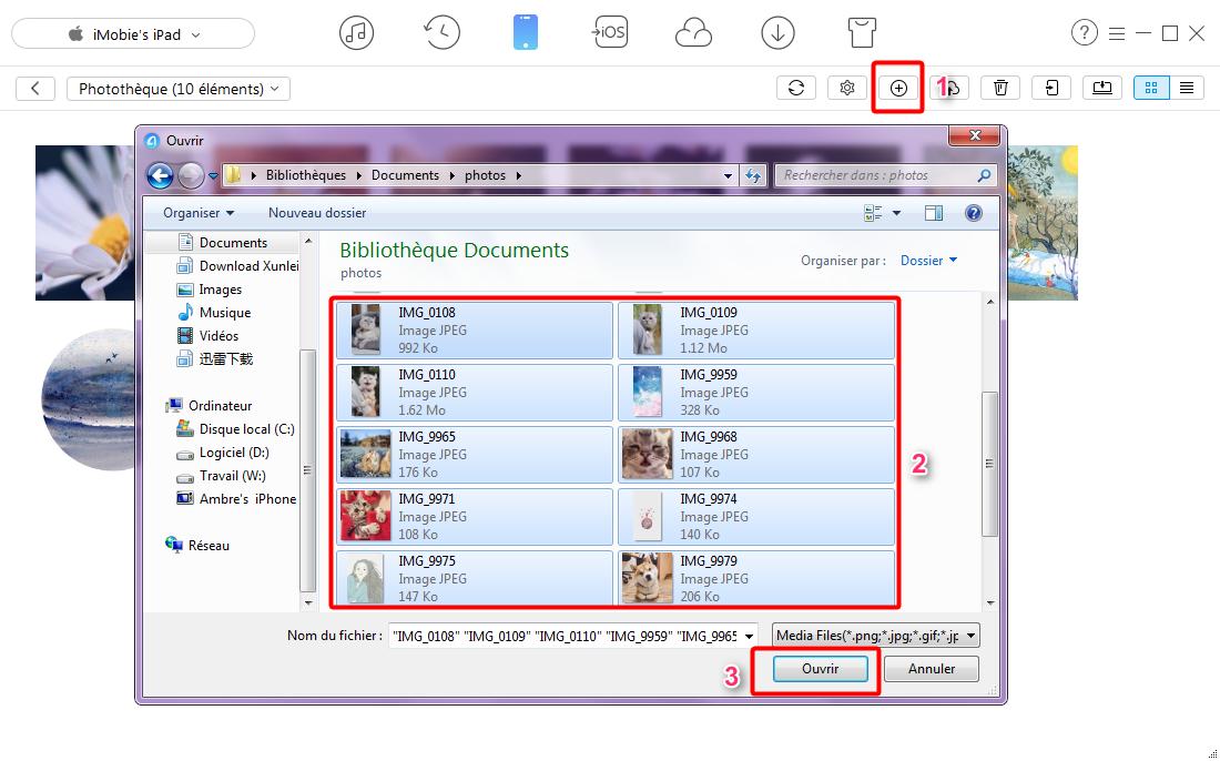 Transfert des photos PC vers iPad via AnyTrans - étape 3