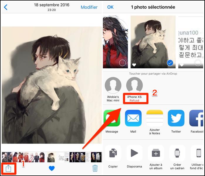 Transférez des photos iPhone vers iPhone X/XS /XR avec AirDrop - étape 2