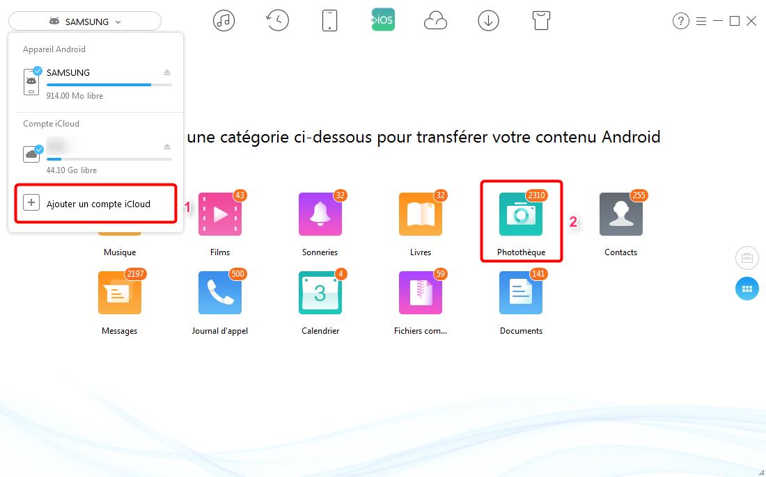 Moyen de transférer les photos d'Android vers iCloud- étape 2