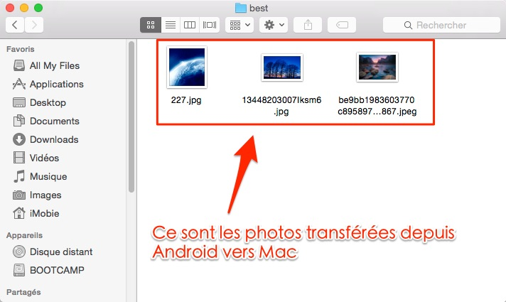 Importer les photos Android vers iPhone - étape 4