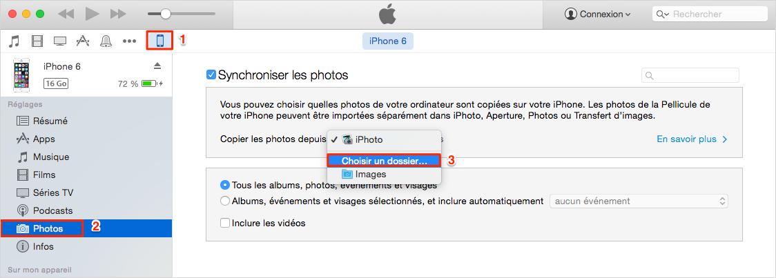 Comment transférer des photos de l'ordinateur à l'iPhone 6 avec iTunes