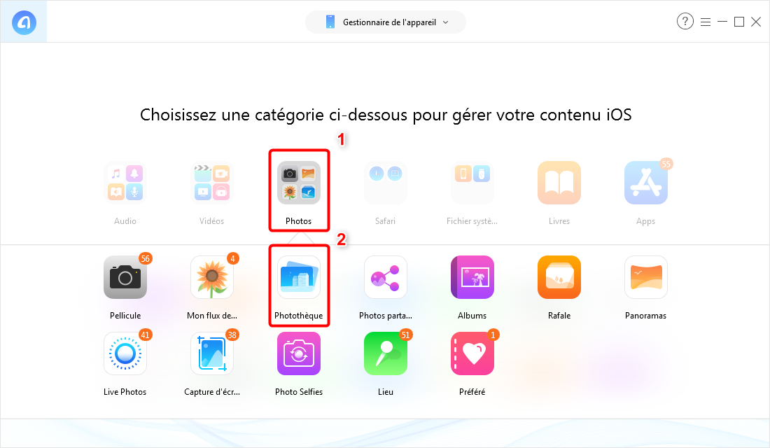 Comment importer photos de l'ordinateur vers iPhone XS – étape 2